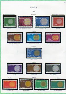 Europa 1970/1990 – Complete collection of stamps with souvenir sheets in an album, dated corners