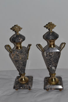 Marble and brass chimney ornaments