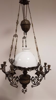 "Jugendstil / Art Nouveau 1880-1905 Oil lamp ""Kosmos Brenner"" with 9 candle holders"