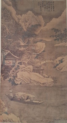 Reproduction old painting明-仇英《雪溪放棹图》 - China - 2nd half 20th century