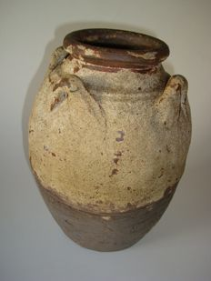 A large chinese brown glazed jug with 4 anses - 265 mm