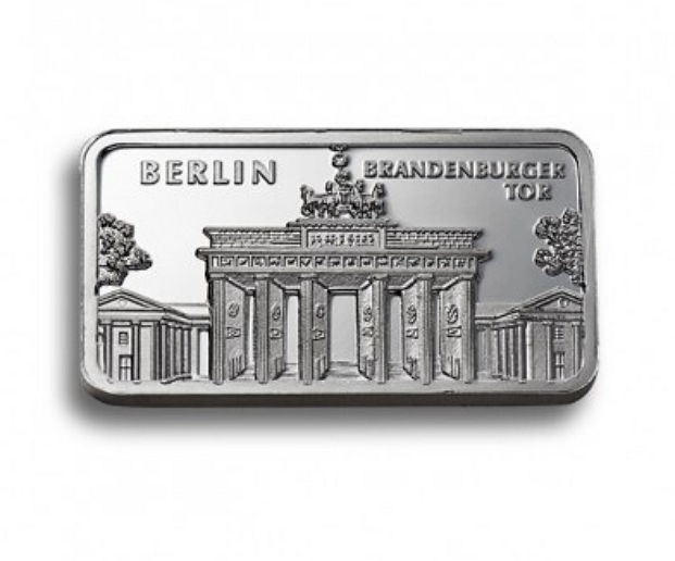 Degussa - 1 oz 999 beautiful historical 999 silver bars - city of Berlin - Brandenburger Tor - theme bars