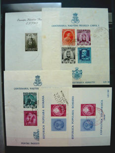Romania 1932/1978 -  minisheets collection including imperforated blocks