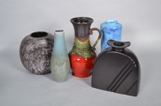Set with five West Germany vases - Ruscha, Jasba, Scheurich, U-ceramics
