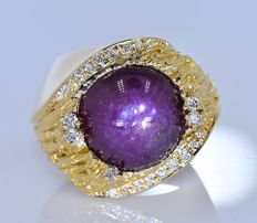 7.37 ct Star Sapphire with Diamonds ring - No reserve price!