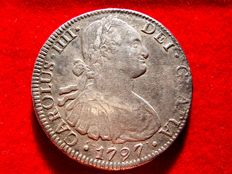 Spain – Carlos IV (1788 – 1808) – 8 silver reales coin – Year 1797 – Mexico. F.M.