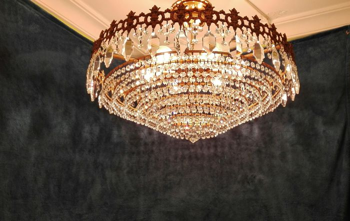 Large ceiling lamp made of glass and brass, 20th century