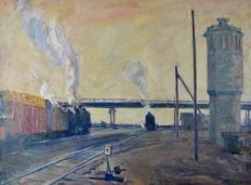 Yuri Mihailovich Shablikin.  (1932-) White Knight. Study of steamtrains.
