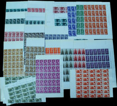 Spain, River Muni 1960/1962– Lot of complete series in blocks – Edifil No. 10/13, 14/17, 18/20, 25/28, 29/31, 32/34.