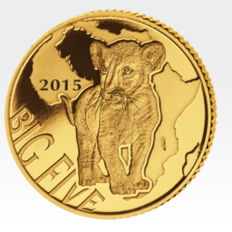 Congo - 100 francs - Big Five Series - Lion Cub 2015 - polished plate - only 5,000 pieces worldwide