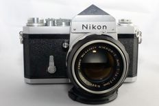 Nikon F with prism viewfinder - Chrome + Nikkor-S Auto 50mm F1.4 lens Nippon Kogaku Japan
