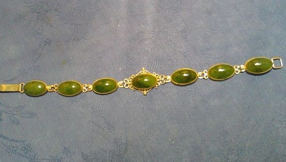 Antique silver bracelet with green nephrite jade, Russia