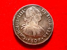 Spain – Carlos IV, King of Spain (1788–1808) silver coin of 2 reales. Lima. 1807. JP.