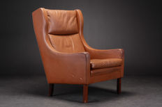 Unknown designer - Danish furniture producer - Wingback armchair in brown leather.