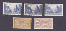 France 1900/1930 – Yvert #120, 120d, 261 Type I, II & III