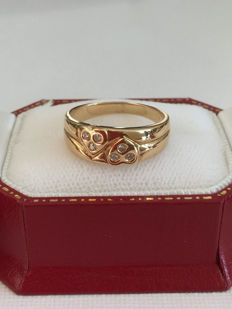 18k yellow gold heart diamonds ring 0.15ct - Size 6 1/2 ***no reserve price***