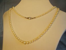 High quality genuine Japanese Akoya pearl necklace with gold Art Deco clasp