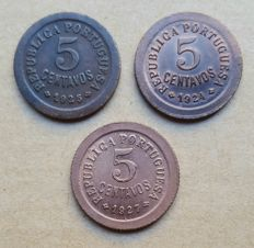 Portuguese Republic – Collection – 3 Coin Lot – 5 Centavos 1924, 1925 & 1927 . Superior condition