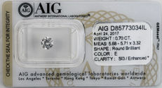 Natural diamond – 0.70 ct – Colour E, clarity SI3 – Brilliant cut – AIG certificate no.  D85773034IL