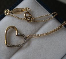14 kt yellow gold necklace with yellow gold heart-shaped pendant – 43 cm