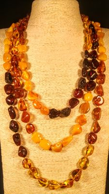 Long 100% Genuine Baltic Amber mix colours necklace, 97 grams