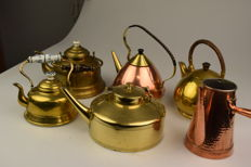 "6 beautiful old ""copper"" kitchen objects"