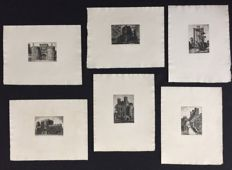 Set of 6 prints of the Yorkshire Castles - ca. 1885