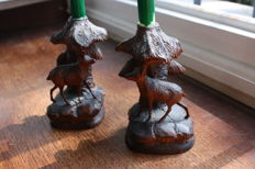 Couple of carved wood candle holders - Austria - 20th centutry