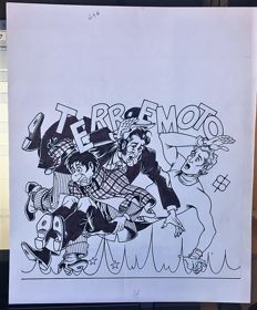 "Perucca, Dario - original cover for Alan Ford no. 246 ""Terremoto"" (1989)"