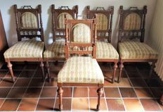 A set of 5 original dining room chairs from Mechelen - Belgium - 19th century