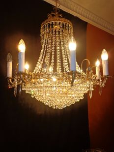 French crystal chandelier - Empire style - 16 light points, France, 2nd half of the 20th century