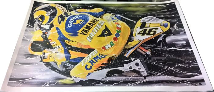 Exclusive lithograph by Eric Jan Kremer of Valentino Rossi - Yamaha YRZ-M1 #46 - Moto GP 2006