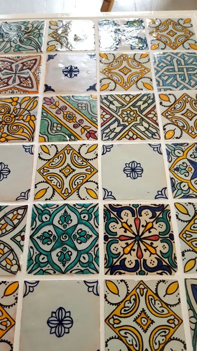 Brocante coffee table with beautiful Moroccan tiles