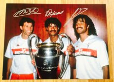 Marco Van Basten, Ruud Gullit & Frank Rijkaard Signed AC Milan Photo ( 30x40cm ): 1990 European Cup Winners with Certificate of Authenticity & Photo Proof