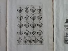 Three heraldic prints - Coats of arms of the abbeys of Brabant - the Hague 1727