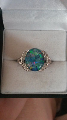 Sought after Authentic Australian Mosaic Opal dress ring. Unusal