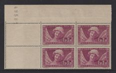 France 1930 - 1.50 Fr + 3.50 Fr, type Reims Cathedral - Yvert 256A, two pairs from booklet