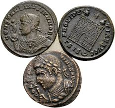 Roman Empire – lot with 3 AE follis – Constantine the Great and his son Constantine II Caesar, 307-337 A.D.