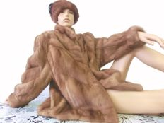 Mink coat, mink jacket in pastel with hat