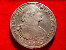 Spain – Carlos IV (1788 – 1808) – 8 silver reales coin – Year 1805 – Mexico. TH