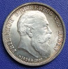 German Empire, Baden – 2 Mark 1907 G to the death – silver