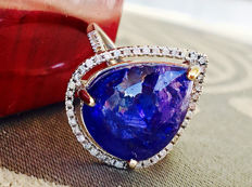 IGI Certificate - 14k 585 White Gold Ring with 10.99 ct Tanzanite + 0.28ct G Diamonds - Total Weight 4,505gr-- Size 53 / 16,92 mm