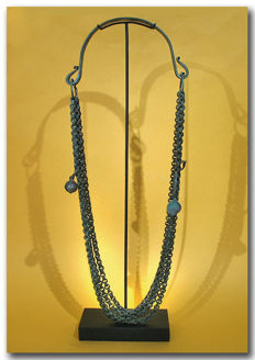 Large Viking Chieftain Bronze Necklace with Bell and Spoon,  39.5 cm L