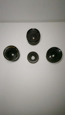 3 as good as New lenses *auto chinon f=28mm* * pentor auto wide f=35mm* *pallas auto fmc f=28mm * + a tokina auto converter 2x