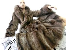 Raccoon coat with large collar