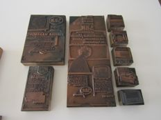 Collection of 8 Dutch Société Belge Radio-électrique (SBR) pressure plates + 5 Dutch-language printing plates prodent-sola-hero-continental from the 40s and 50s