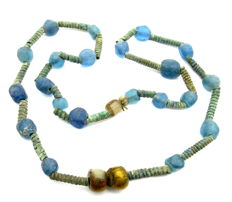 Celtic Necklace including bronze and stone/glass beads -  620 mm