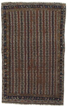( Size 182X115 Cm ) Very Old Antique Authentic Carpet (Oriental, Persian) (HAND-Knotted) (Period 1920s) With certificate of authenticity from official appraiser – (Galleria Farah1970)