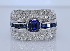 Sapphires and Diamonds, designer band ring - No reserve price!