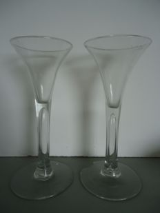 Two wine glasses with hollow stem, Netherlands, mid 18th century